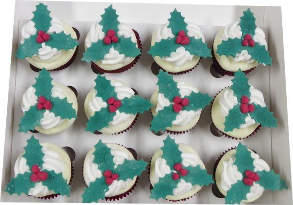 12 Holly Red Velvet Cupcakes