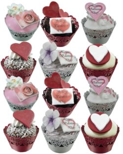 12 Mixed Valentine cupcakes with lace wrappers