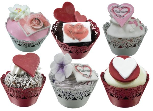 6 Valentine Cupcakes with with Lace wrappers