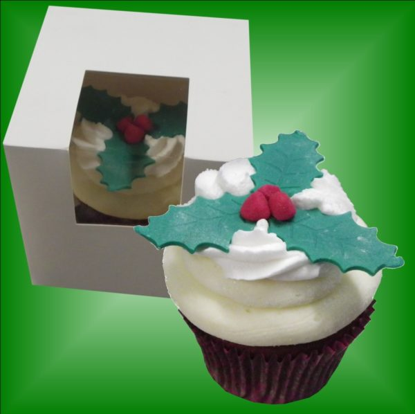 Individual Holly Red Velvet Cupcake