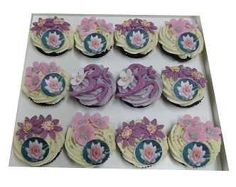 Lotus Flower and Omm Symbol Cupcakes