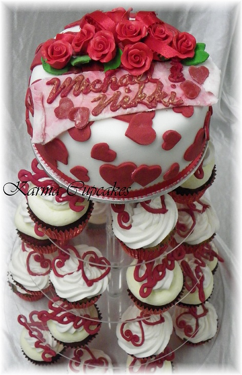 Red Rose engagement cupcake tower