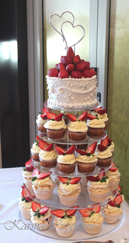 Baked cheesecake and pavlova wedding cupcake tower