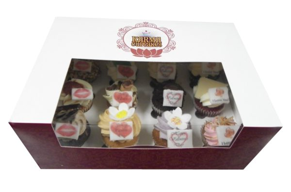 12 High Tea Mini Cupcakes with Valentine's Day messages