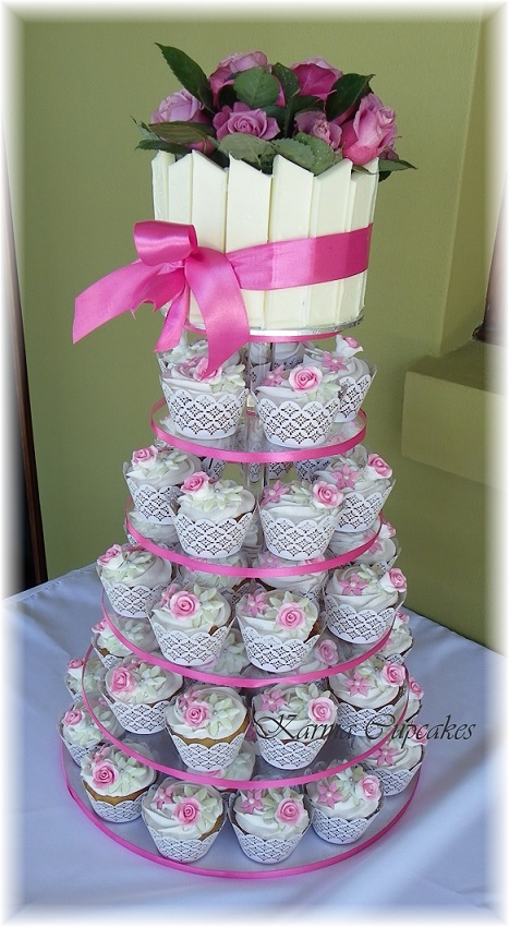 Pink Rose Lace Cupcake Tower
