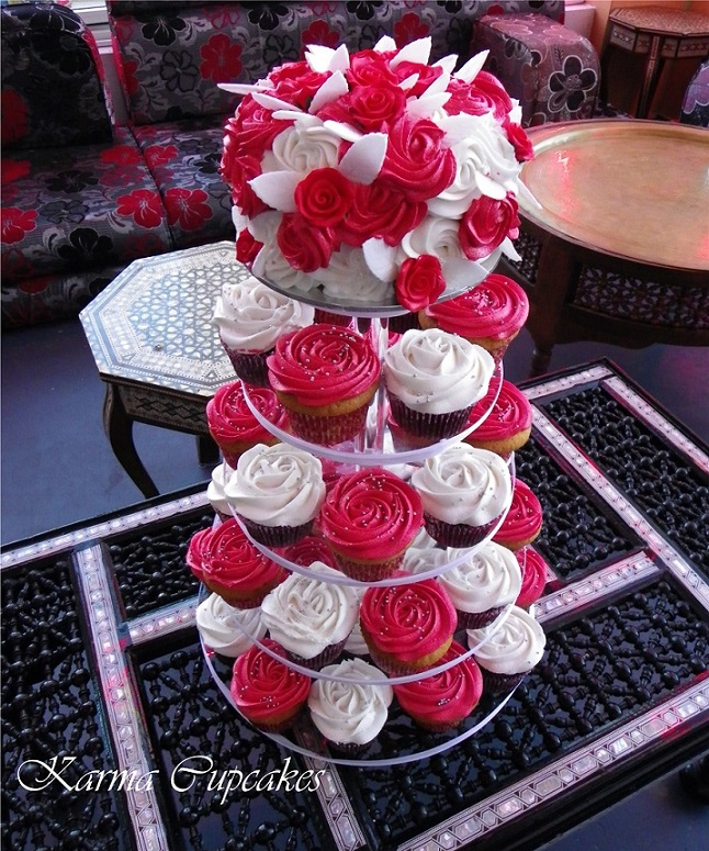 Red And White Classic Rose Cake On A Cupcake Tower
