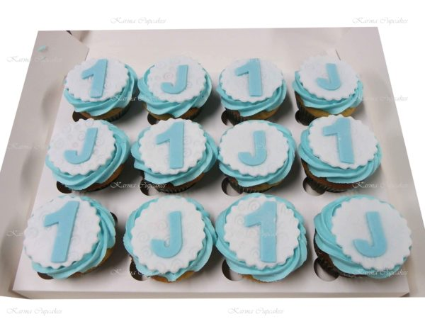 Baby Boy's First Birthday Cupcakes