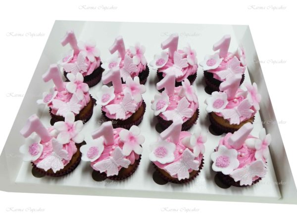 Baby Girl's First Birthday Cupcakes