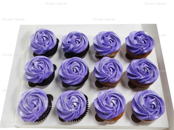 Classic Rose Swirl Cupcakes with Silver Dusting- Choose a colour of your choice