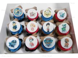 Paw Patrol Cupcakes with a dog bone