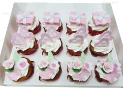 Birthday Cupcakes with Edible Flowers, Hearts and Handmade Presents