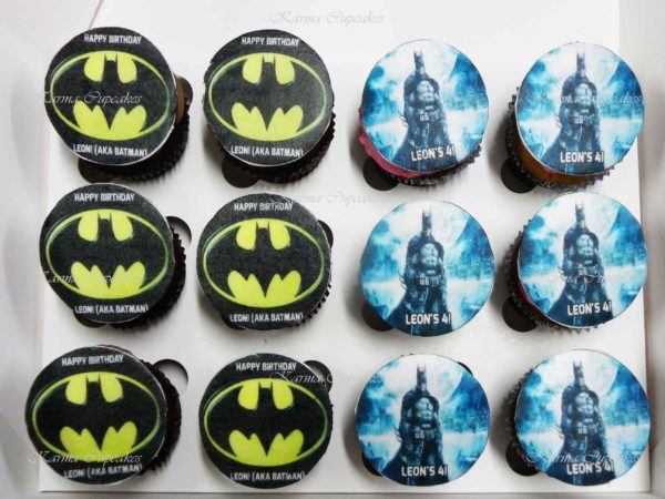 Batman Cupcakes with Edible Images