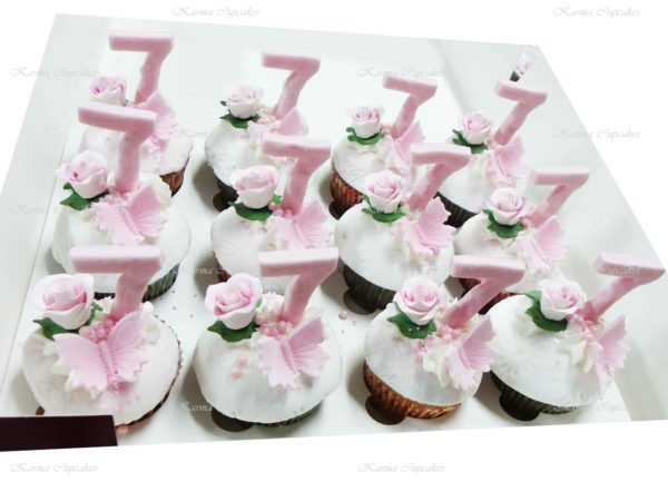 Birthday Cupcakes with Handmade Flowers and Number