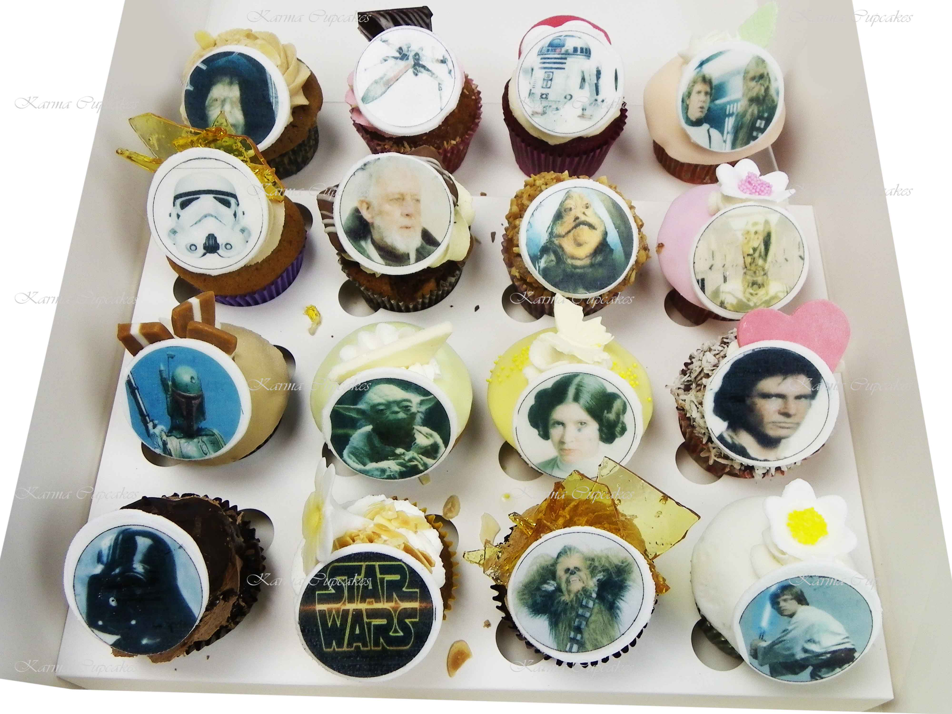 Strange Variety Of 12 Gourmet Cupcakes With Star Wars Edible Images Funny Birthday Cards Online Overcheapnameinfo