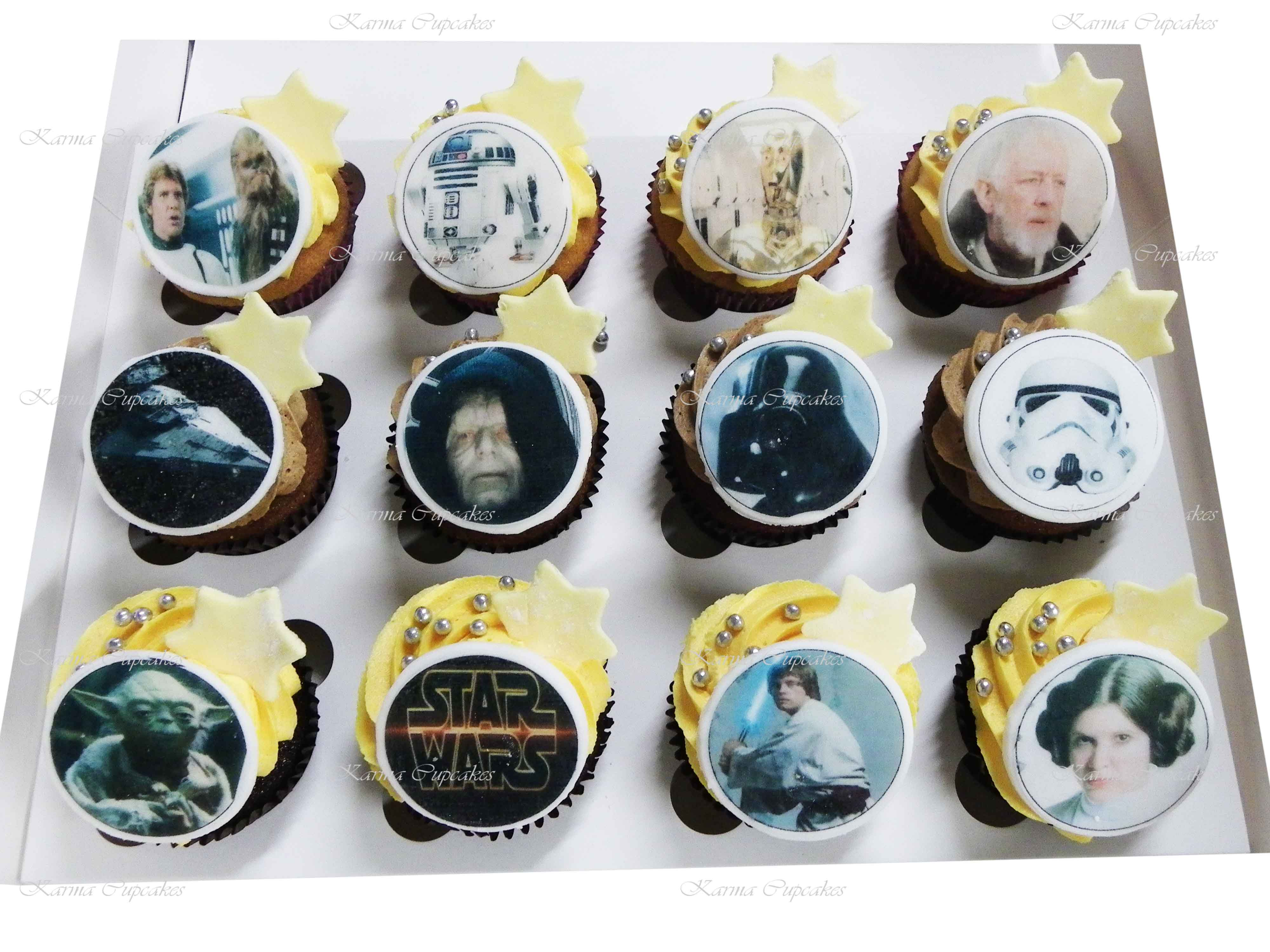 Tremendous 12 Star Wars Cupcakes With Edible Images Of Your Favourite Characters Funny Birthday Cards Online Overcheapnameinfo