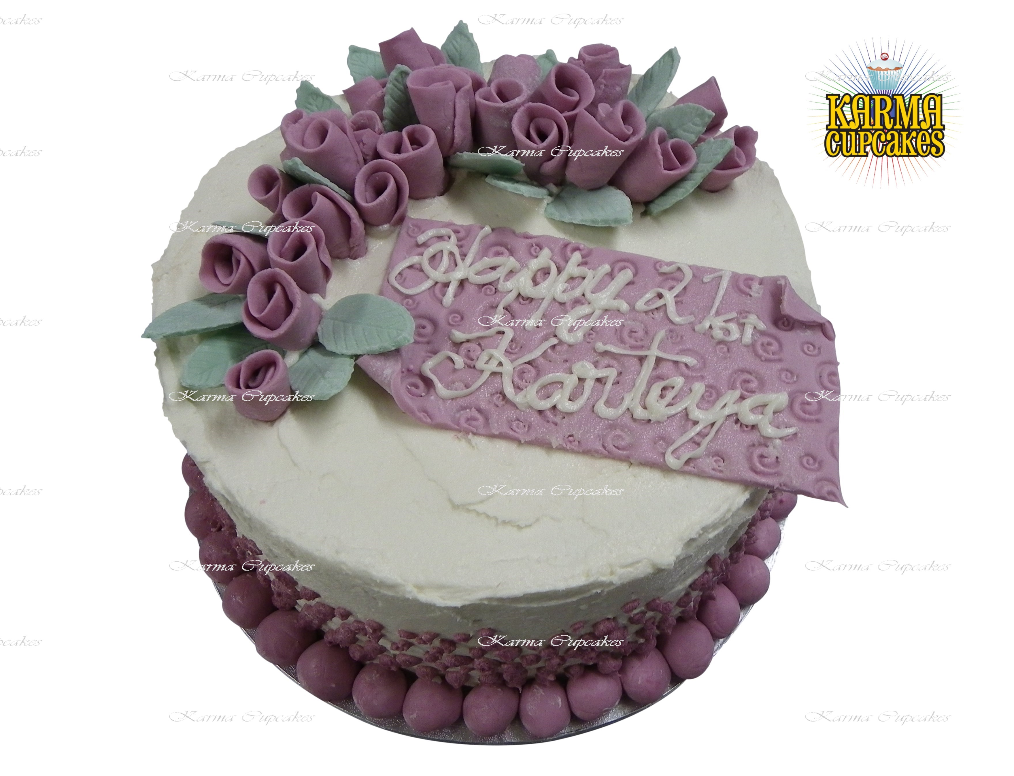 8 Inch Cake With Sugar Roses Leaves With Edible Image Plaque