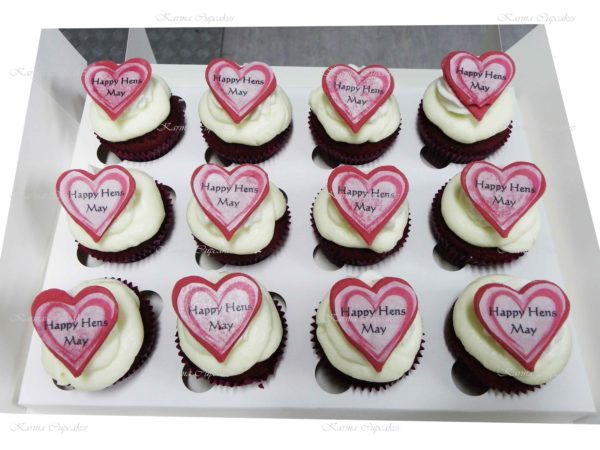 Hen's Night Red Velvet Cupcakes with Edible Images