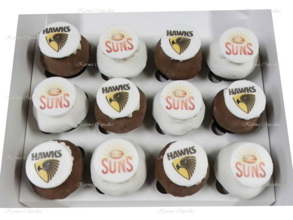 Sports Cupcakes with Edible Plague - choose your team