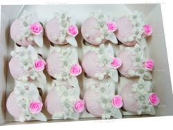 Pink Rose Cupcakes with Embossed Fondant Icing