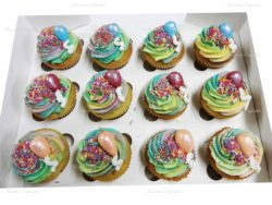 Rainbow Cupcakes with Edible Balloons