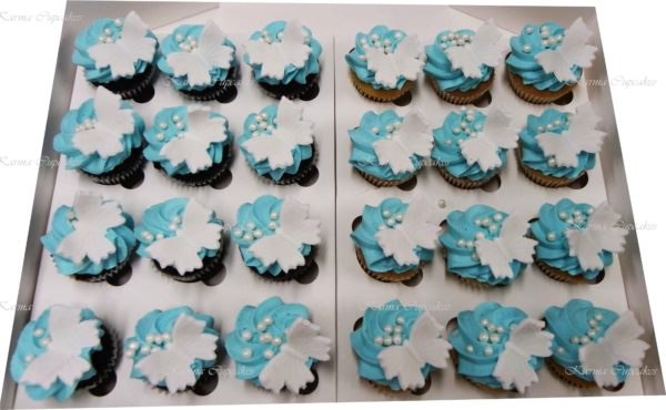 Butterfly and Flowers High Tea Cupcakes - Choose your colour