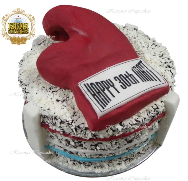 Boxing Ring with Gloves Round Birthday Cake