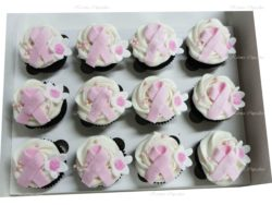 Breast Cancer Cupcakes with Pink Bow