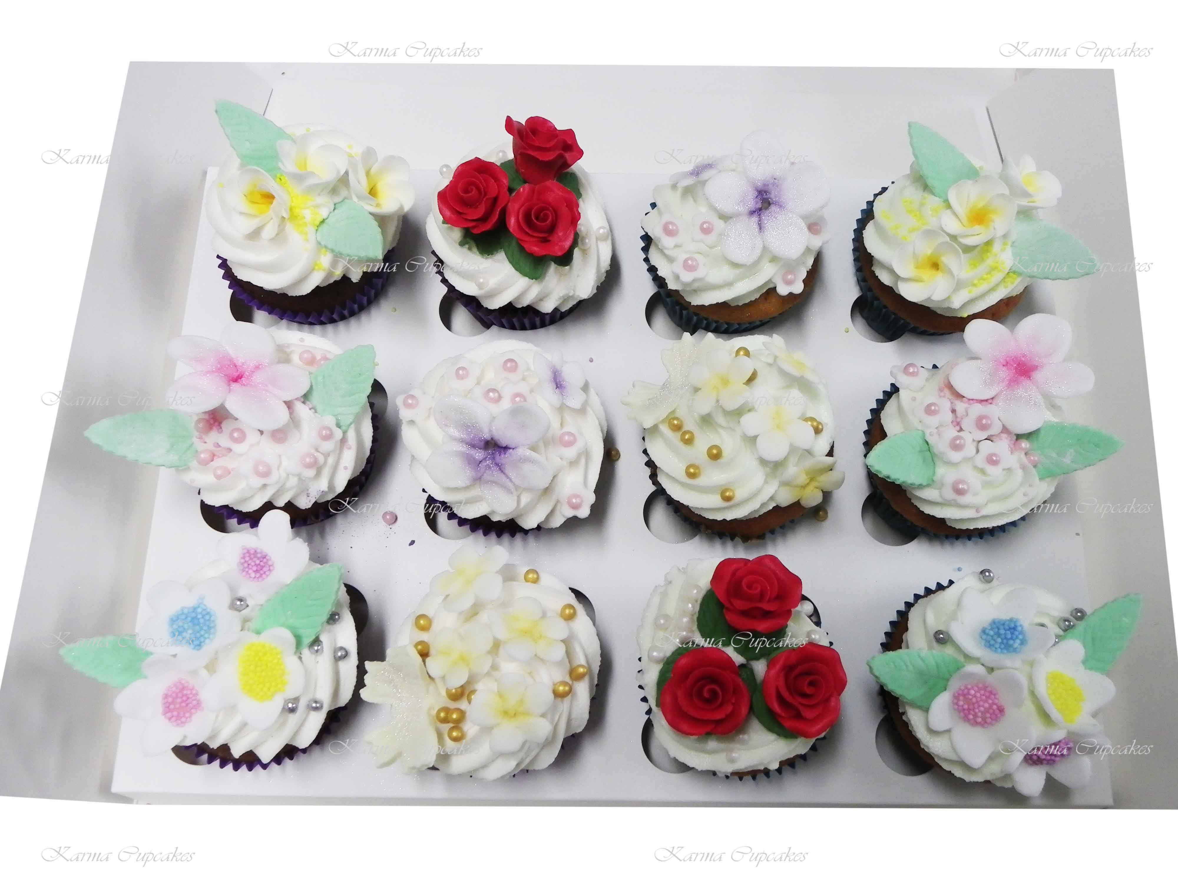 Pleasant Birthday Cupcakes With Edible Flowers And Leaves Funny Birthday Cards Online Inifofree Goldxyz