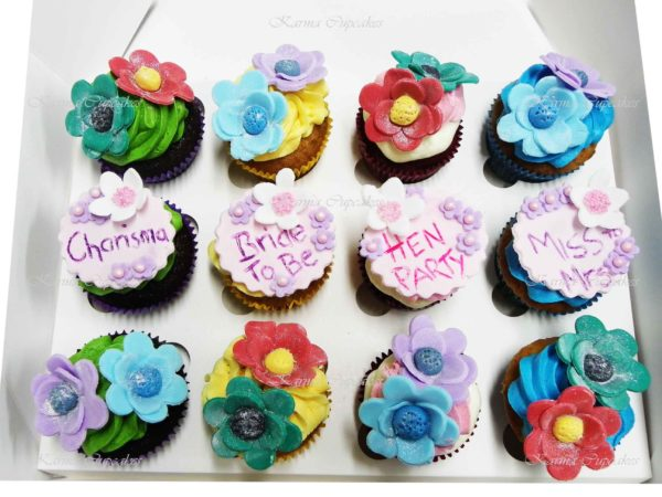 Hen's Night Cupcakes with Sugar Flowers