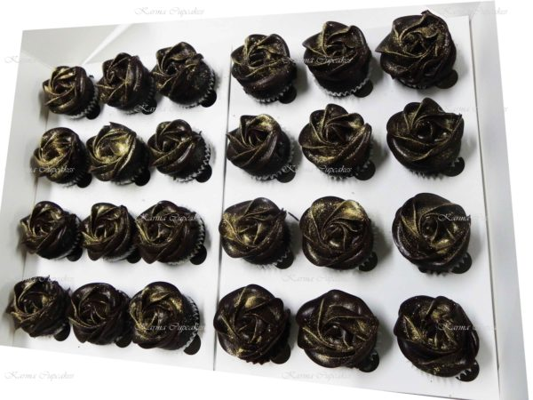 Classic Ombre Rose Swirl Chocolate Mud High Tea Cupcakes
