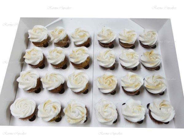 Classic White with Gold Lustre Rose Swirl High Tea Cupcakes