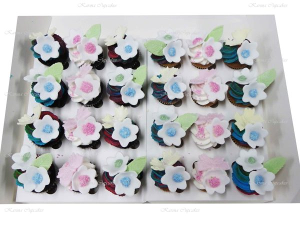 Rainbow Flowers High Tea Cupcakes