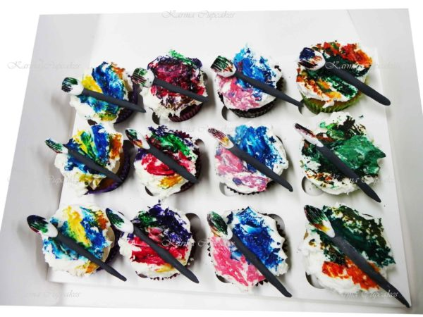 Artist Cupcakes with Paint and Brush