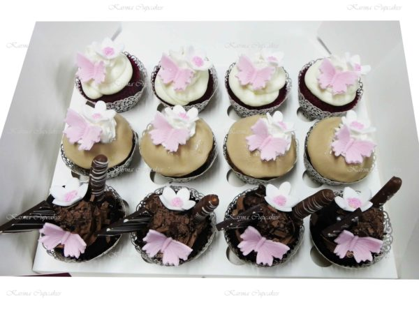 Custom Made Gourmet Cupcakes with Flowers and Butterflies