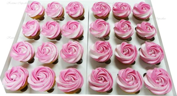 Classic Ombre Rose Swirl High Tea Cupcakes - choose your colour