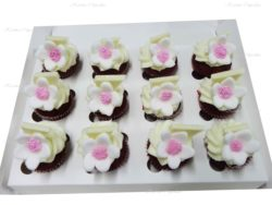 Flowers on Red Velvet High Tea Cupcakes