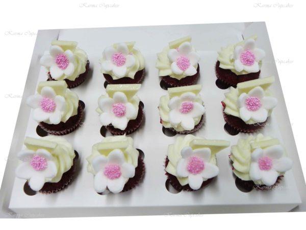 Flowers on Red Velvet High Tea Cupcakes