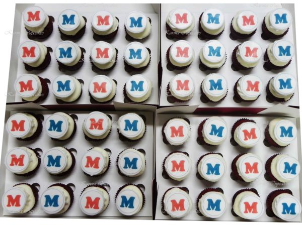 "Personalised ""Initials"" High Tea Cupcakes- choose your colours"