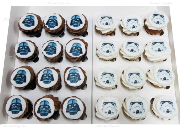 Star Wars Mini Cupcakes with Round Edible Images