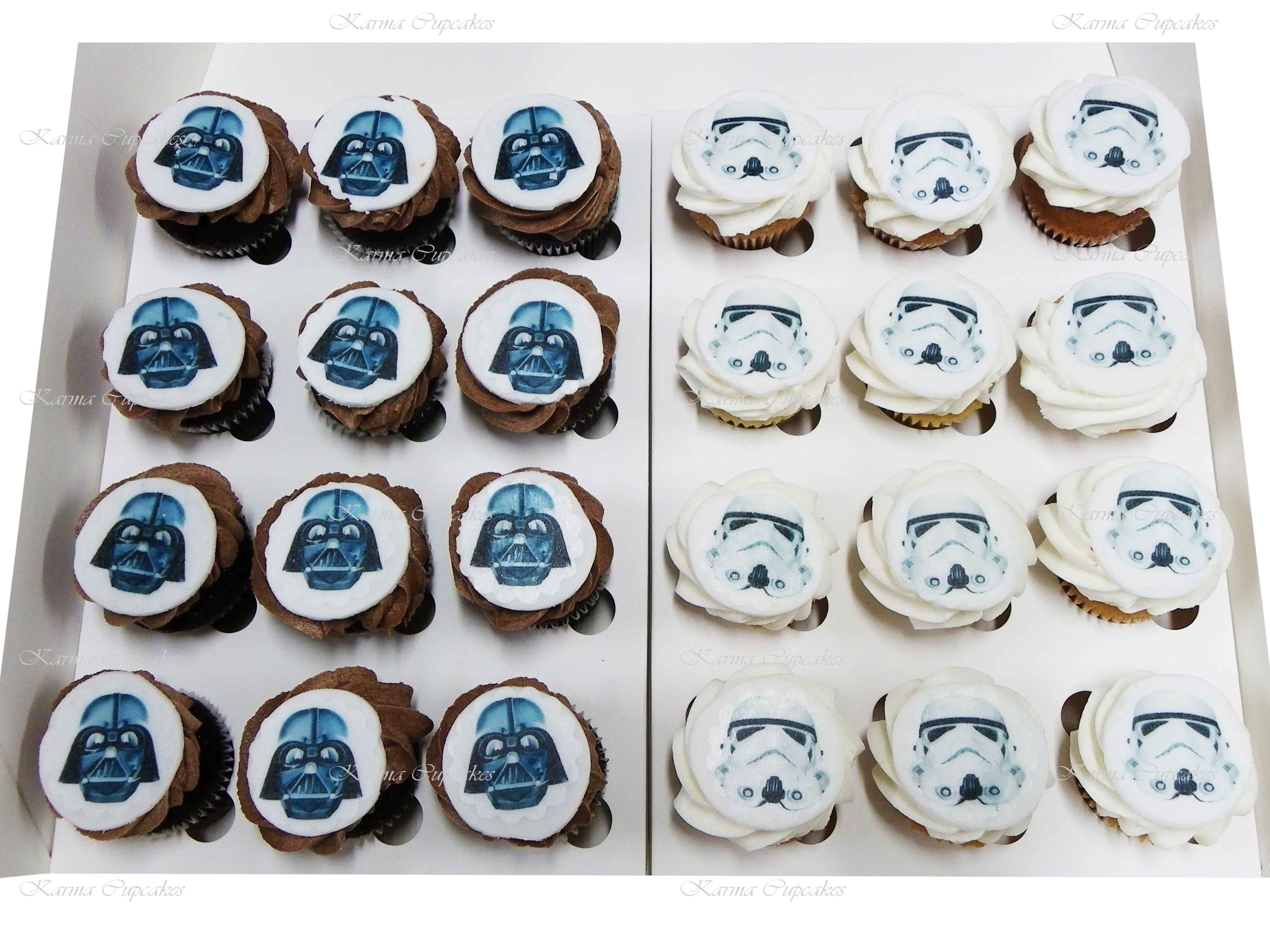 Fantastic Star Wars Mini Cupcakes With Round Edible Images Funny Birthday Cards Online Overcheapnameinfo