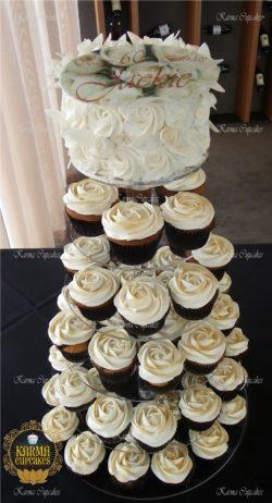 Rose Swirl Cupcake Tower with Edible Birthday Plague