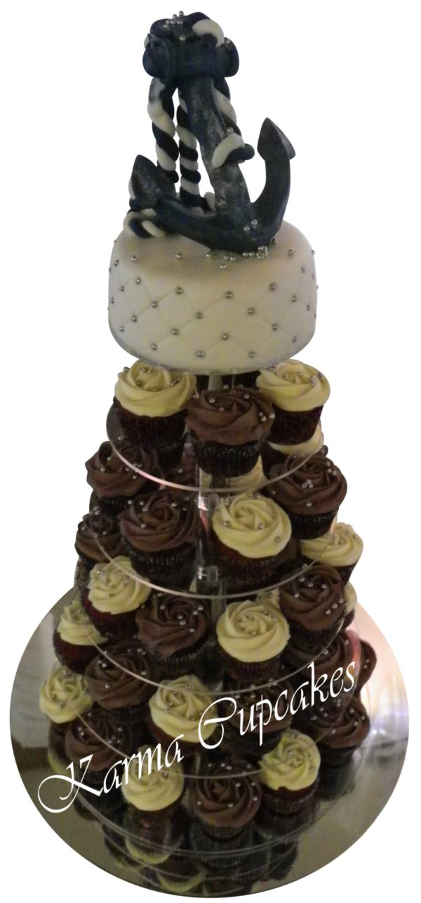 Cupcake Tower with Anchor Cake