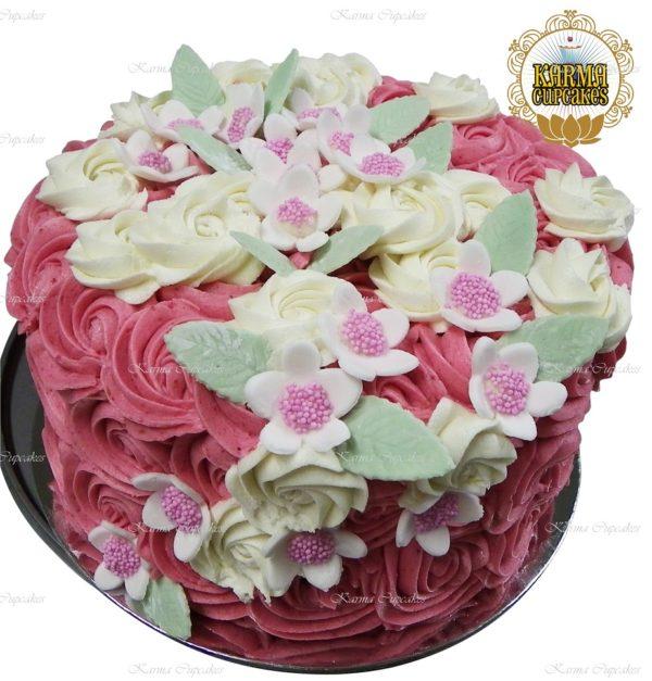 """8"""" Pink Rose Swirl Cake"""