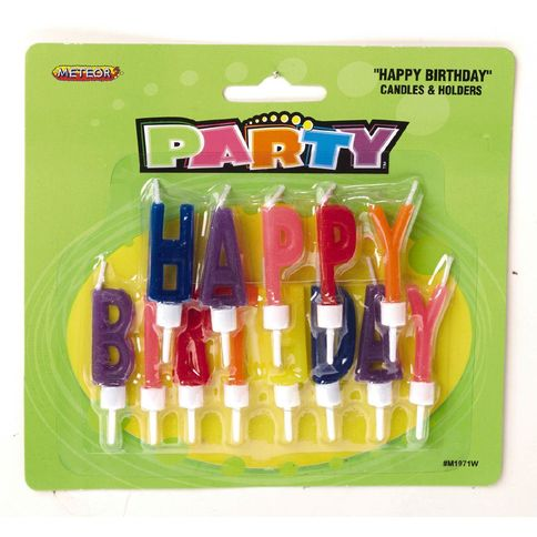 Happy Birthday Letter Candle and Holder Set