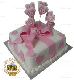 "Nicole's 8"" Pink NOT PURPLE Fondant Cake with Hearts"