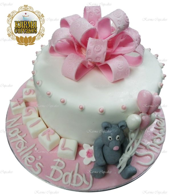 "Teddy Bear Girl Gender Reveal 8"" Cake"