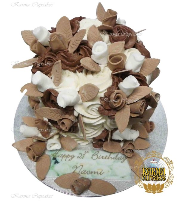 """8"""" Rose Swirl Cake on Board with Edible Message - choose your own colour/s"""