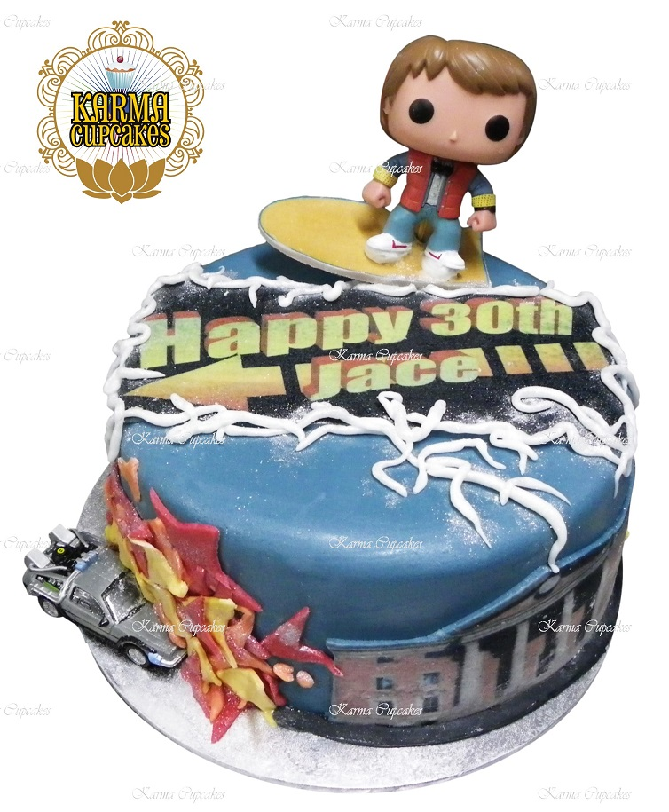 Pleasant Back To The Future Birthday Cake With Edible Message Personalised Birthday Cards Veneteletsinfo