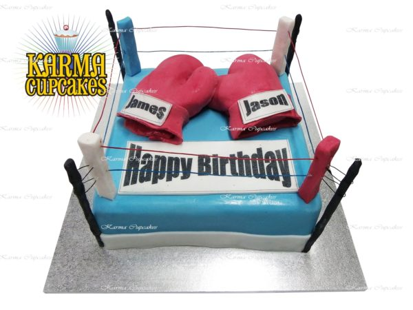 Boxing Ring with Gloves Square Birthday Cake