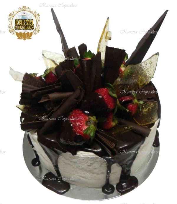 Toffee and Chocolate Shards 8'' Drip cake with Chocolate Dipped Strawberries